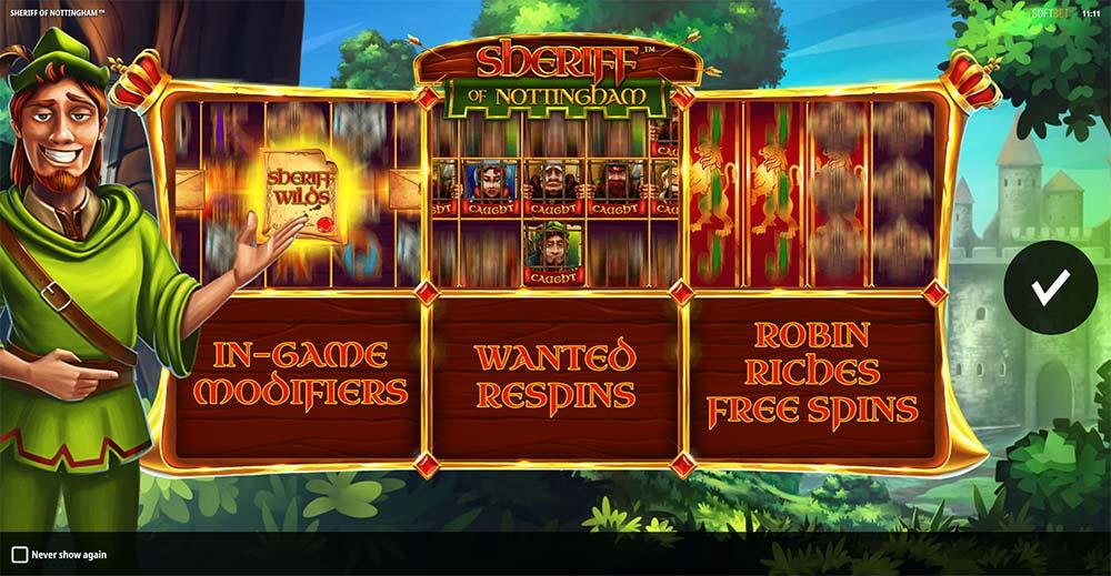 Sheriff of Nottingham Slot - Intro Screen