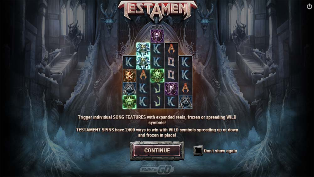 Testament Slot - Intro Screen