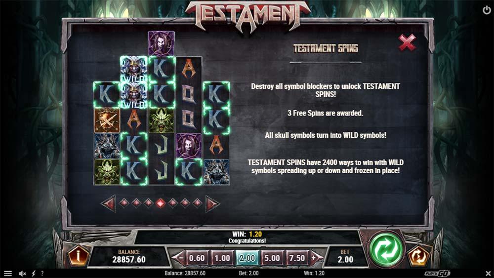 Testament Slot - Paytable