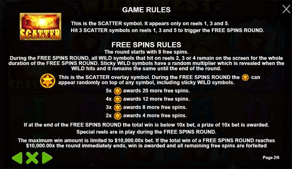 Wild West Gold Slot - Free Spins Info