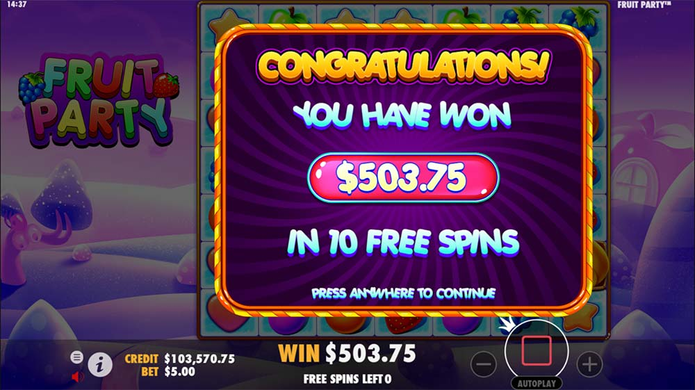 Fruit Party Slot - Bonus End