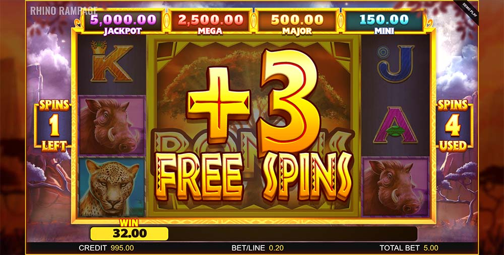 Rhino Rampage Slot - Free Spins Re-Trigger