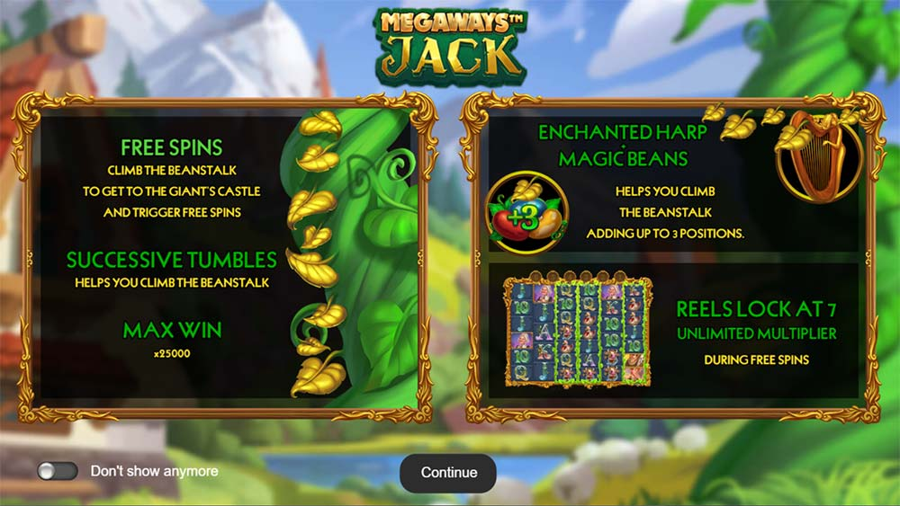 Megaways Jack Slot - Intro Screen