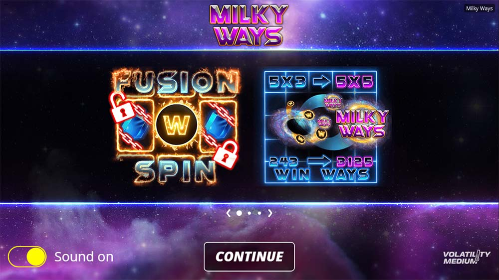Milky Ways Slot - Intro Screen