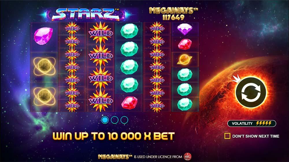 Starz Megaways Slot - Intro Screen