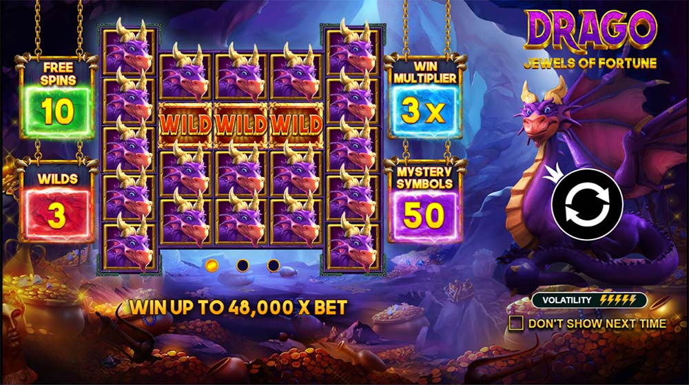 Drago Jewels of Fortune Slot - Intro Screen